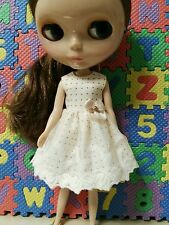 Blythe Doll Outfit Cloth Dot Beige Lace Dress