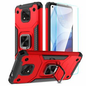 For Motorola Moto G Power/Play/Stylus 2021 Ring Holder Case Cover/Tempered Glass