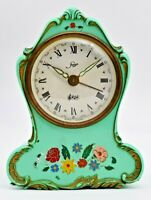 Vintage STAIGER Made In Germany Floral Musical Clock, Blue/Green, Windup Running