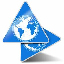 2 x Triangle Stickers 10 cm - Earth Blue Globe Map Environment  #5757