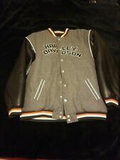 Men Harley Davidson Wool Leather Varsity Bomber Embroidered Reversible Jacket XL
