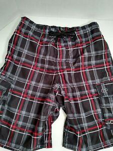 Op Swim suit trunk shorts lined Medium 32 34 black Cargo POCKET plaid