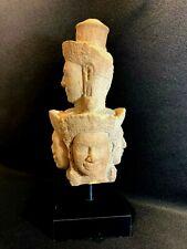 KHMER HEVAJRA FACES SANDSTONE SCULPTURE, BAKHENG PERIOD----10th century