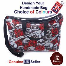 Skull and Roses Tote Bag,Vintage Skull Bag, Skull and Roses Tote Bag, Handmade,