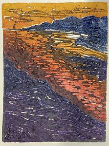 Puesta del Sol Bright Sunset Lake Color Original Cork Relief Print Landscape