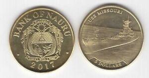 NAURU 5$ UNC COIN 2017 YEAR SHIP USS MISSOURI