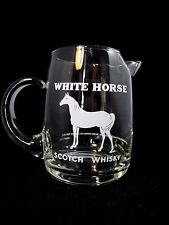 White Horse Cellar Dry Scotch Whiskey pub pitcher, jug clear glass. Browne NYC
