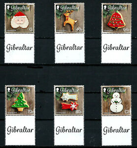 GIBRALTAR, SCOTT # 1588-1593, SET OF 6 CHRISTMAS COOKIES YEAR 2016 WITH TAB, MNH