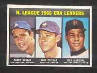 1967 Topps #234 Sandy Koufax Mike Cuellar Juan Marichal NL ERA Leaders