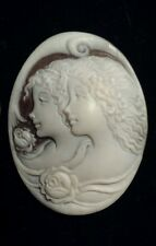 """Handcarved SARDONYX """"TWO WOMEN"""" Unframed CAMEO, SIGNED & Dated By Artist, ITALY"""