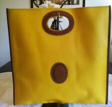 Trussardi XL Mustard Yellow Pebbled Leather Clutch Handbag Xlnt Condition!!