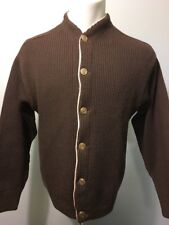 Vtg 50s 60s Cardigan Sweater Mens M Button Up Golf Holiday Party Knit Wool Blend