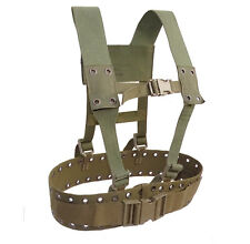 German Army Combat Belt & Shoulder Harness Set olive webbing tactical airsoft