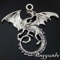 50476 Antique Silver Alloy Winged Dragons Pendants Charms Crafts Findings 10pcs