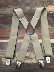 "CARHARTT WIDE 2"" UTILITY WORK SUSPENDERS TAN KHAKI CHROME METAL CLIPS 52"" LONG"