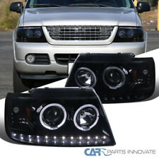 For Ford Explorer 02-05 Glossy Black LED Dual Halo Projector Headlights Lamps