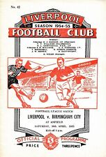 More details for liverpool v birmingham city 1954/1955 - football programme
