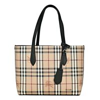 NWT Authentic Burberry Small Reversible Haymarket Check And Leather Tote