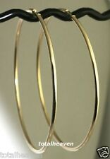 """COUTURE 3.2g Solid 14K Yellow Gold  HUGE 3"""" Endless Hoop Earrings 75x2mm"""