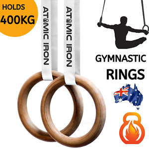 🔥ATOMIC IRON🔥 Wooden Gymnastic Rings 28mm | Olympic Gym Crossfit Calisthenics