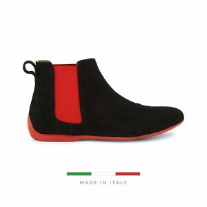 Sparco Misano Black Red Shoes Ankle Boots in Suede