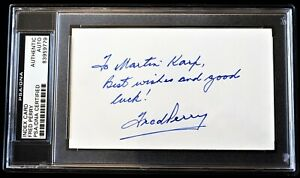 TO MARTIN - Fred Perry Signed Autographed Tennis 3x5 Index Card Deceased PSA/DNA