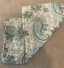 Pottery Barn Duvet Cover Bedspread Full Queen 100% Organic Paisley Spa Green Bl