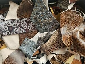 🐄 Brazilian Embossed/Patterned/Printed Leather Leftovers Remnants Scraps  🔥