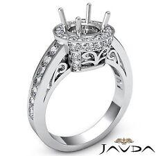 Diamond Engagement Filigree Ring Round Semi Mount Halo Pave 18k White Gold 0.8Ct