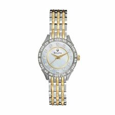 Bulova Watch Women's Two Tone Stainless Steel 98L162 Crystals Wrist Bracelet New