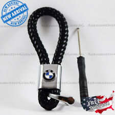 BMW Logo Emblem Key Chain Black Genuine Leather Alloy Accessories Gift