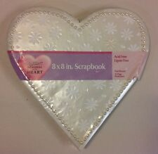 New Wilton White Pearl  Heart Wedding Scrapbook Baby Shower Book Album