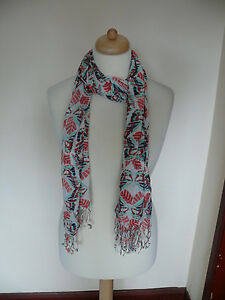 White Stuff Pink Leaf Scarf With White Background and Multi Butterflies *PRETTY*