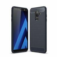Samsung Galaxy A6 Plus 2018 TPU Case Carbon Fiber Optik Schutz Hülle Cover Blau