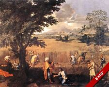 RUTH & BOAZ WORKING GLEANING IN THE FIELDS PAINTING BIBLE ART REAL CANVAS PRINT
