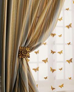 Gold Butterfly on sheer silk organza drape (pair)