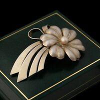 Antique Vintage Deco Retro 925 Sterling Silver Floral Ribbon Spray Pin Brooch
