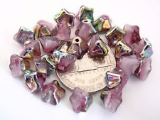 25 8 mm Trumpet Flower Glass Beads: Vitrail - Pink/White