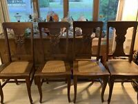 RARE Antique North Wind Face Set of 4 Oak Chairs By Michigan Chair Company