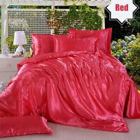 Silk Beding Cover Set Duvet Bedspreads BedSheet 4 Pcs Pillowcase Queen King Size