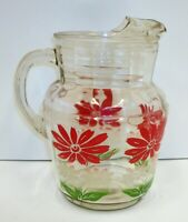Vintage MCM Kitchen Glass Pitcher - Red White Flowers - Ice Lip