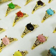 20pcs Multicolor cat-eye gold plated rings wholesale jewelry lots free ship AFP