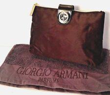 Giorgio Armani Black Satin Make Up Bag purse size & Face cloth