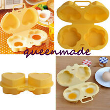 Microwave Two Egg Steamer Cook Poacher Oven Love Breakfast Lunch Kitchen Tool Q