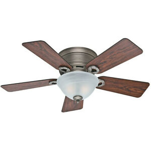 Hunter Fan Company 51024 Conroy Low Profile Ceiling Fan w/ Light, Antique Pewter