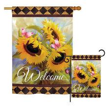 Welcome Sunflower Spring-Floral Garden Yard Banner House Flag