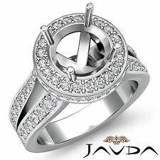 1.3Ct Halo Split Shank Diamond Engagement Round Semi Mount Ring 18k White Gold