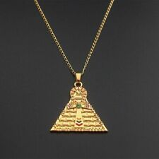 Gold Plated Egyptian Ankh Key Of Life Cross Pyramid Pendant Amulet Necklace