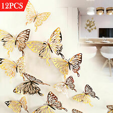 12Pcs 3D Butterfly Wall Stickers Fridge Art Decals Home Room DIY Decoration New.