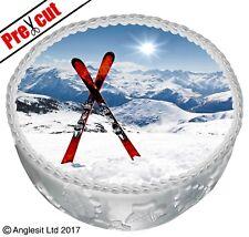 "PRE-CUT SKIS WINTER CAKE C VI. TOPPER 7""/ 18CM EDIBLE WAFER CHRISTMAS DECORATION"